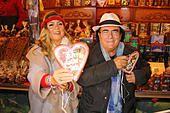 the italian pop megastars Al Bano and Romina Power visit the famous hamburg christmas market in front of the town - Stock Photo