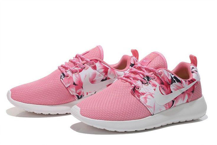 Nike Roshe Run Mesh Womens London flower art mei red Shoes