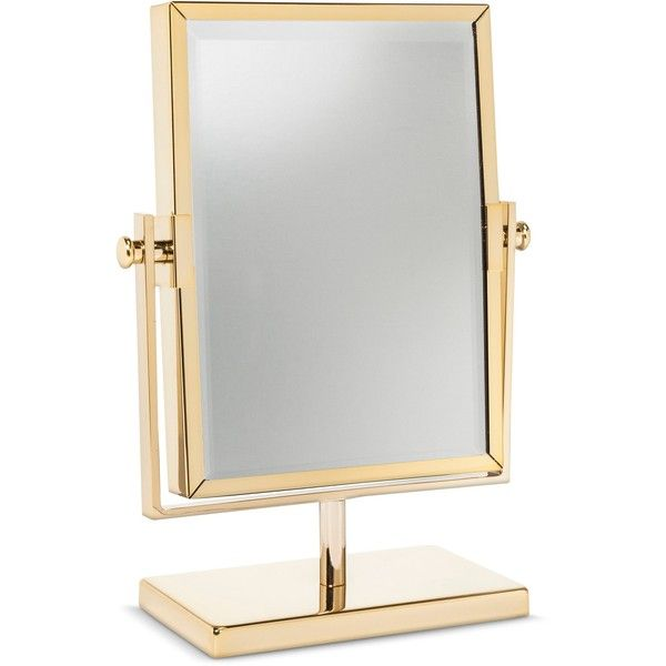 West Emory Two Sided Gold Vanity Mirror (245 SEK) ❤ liked on Polyvore featuring home, bed & bath, bath, bath accessories, modern bath accessories, modern bath vanities, gold vanity mirror, gold bath accessories and modern bathroom vanities