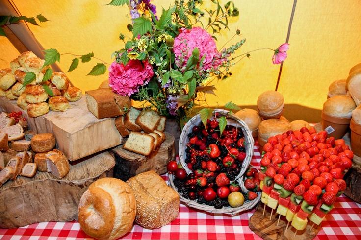 The breakfast buffet table