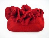 Войлочная сумка сцепления Мак яды сумочку чувствовал nunofelt Нуну чувствовал Шелковый рубин бордовый красный мак фея многоцветные цветочные фантазии Волоконно искусства Boho