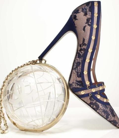 René Caovilla Blue Lace Heels Chanel Bag 2014 #Shoes #Pumps #Accessories
