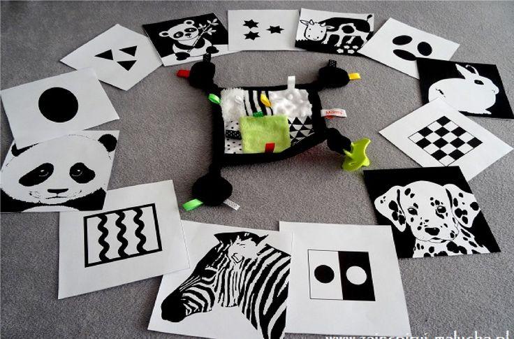 Karty oraz zabawki kontrastowe dla niemowląt
