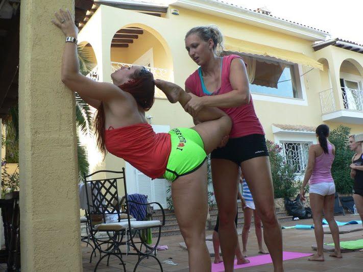 Martanka and Veronika Rehorova studio Poletime on pole dance camp Mallorca. Flexibility training