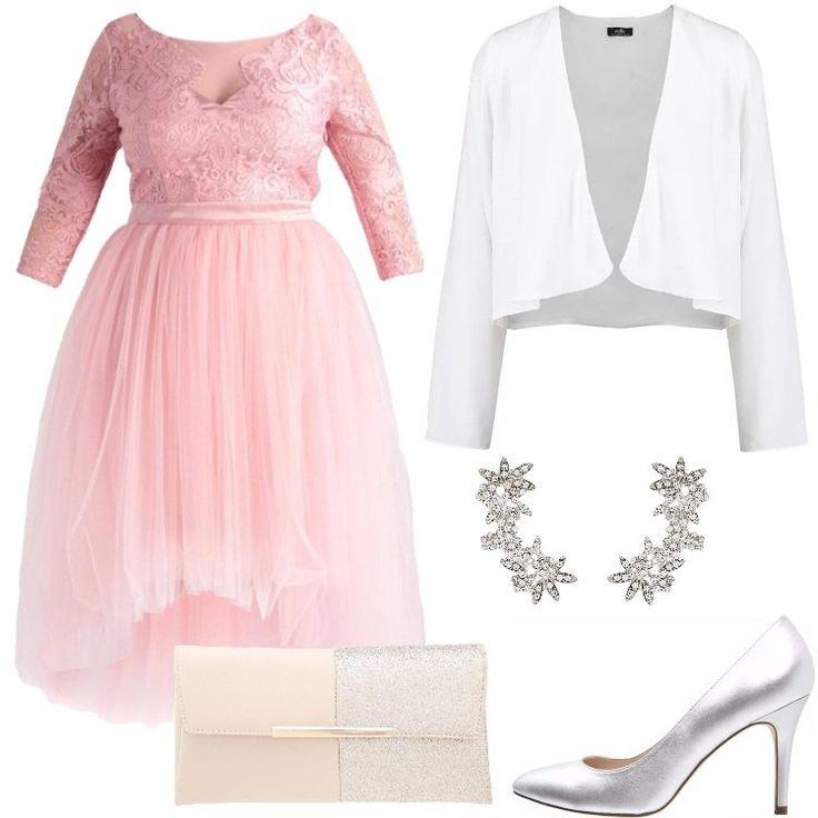 Se il rosa è il vostro colore preferito, non potete rinunciare a questo favoloso abito rosa, abbinato ad un blazer bianco. Per completare il tutto, ho scelto un paio di tacchi color argento, che si abbinano perfettamente al colore rosa del vestito.