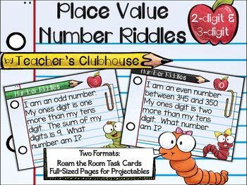 This resource includes 20 two-digit and 20 three-digit number riddles in both task card format and full-sized page format. The task cards are perfect for Roam the Room activities which get students engaged through movement and math (recording sheet and answer key included).