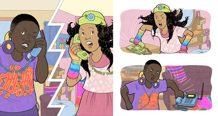 Lebo and Lisa have an argument on the phone. Vuma literacy series, Sepedi first language, fun, age-appropriate stories centred around a diverse group of loveable characters that South African children can relate to. #chantelleandburgenthorne #illustrators #childrensbook #illustration #published #education #reader