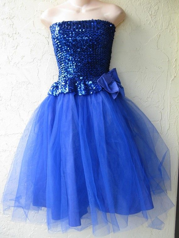 vintage 80's prom dresses size 18 | Vintage 80's Electric Blue Sequin Beaded Poof Skirt Strapless Prom ...