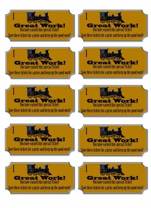 Free Printable Reward Tickets For Kids Steam Train