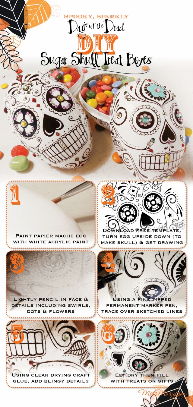 DIY Sugar Skull Treat Boxes- step-by-step infographic