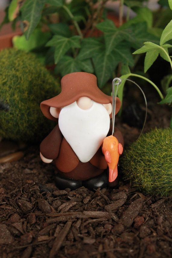 Polymer Clay Gnome   Fishing Gnome  Terrarium by GnomeWoods