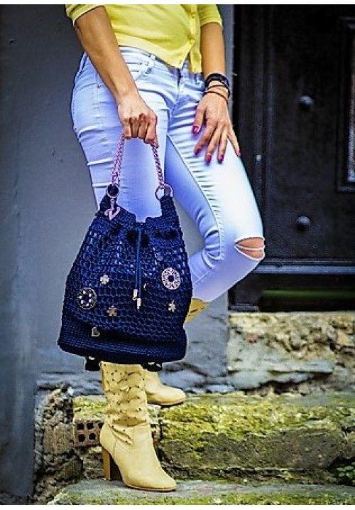 Backpack & Shoulder Bag with Metal Elements