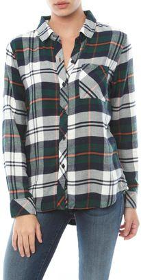 Rails Hunter Long Sleeve Button Down Shirt - Shop for women's Shirt - Green/Ivory Flannel Shirt