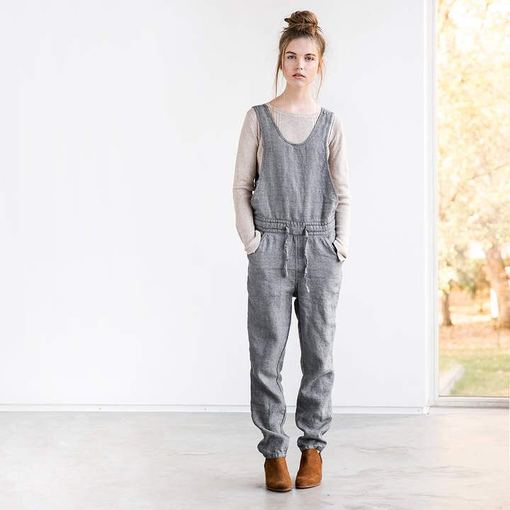 bc142792aca Etsy Loose full leg length grey linen - wool blend jumpsuit   Washed linen  - wool blend overall   Women