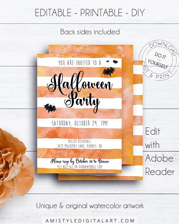 Halloween invite with orange stripes and bats - for the best halloween party of the seasonThis stylish printable invitation listing is for an instant download EDITABLE PDF so you can download it right away, DIY edit and print it at home or at your local copy shop by Amistyle Digital Art on Etsy