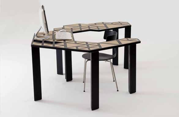 Made up of three separate table elements that interlock, the unique piece of furniture can be configured in several variations. The small table, office desk and long table can be used as three separate pieces, or put together in different formations to create everything from a larger office desk to a medium or even large dining table with serving tray.