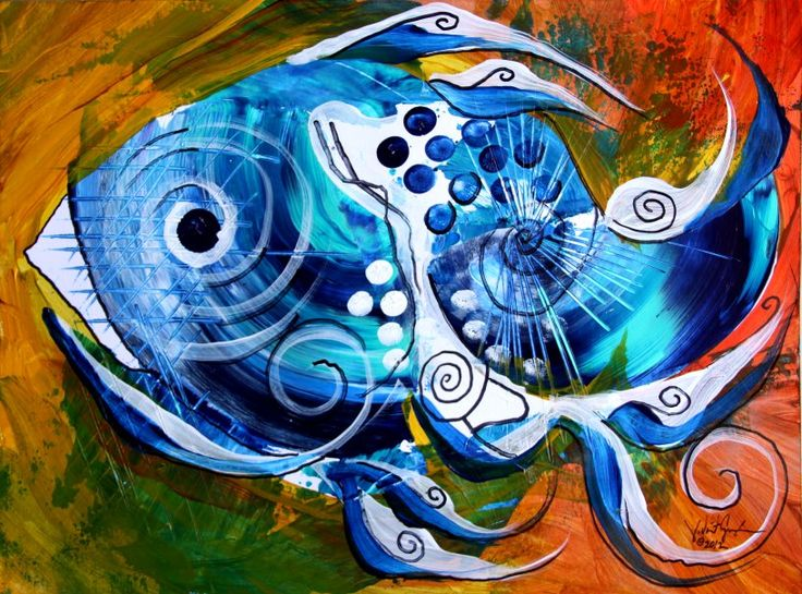 """""""Pacific Color"""" (2012) Abstract Fish Art from J. Vincent Scarpace, Artist"""