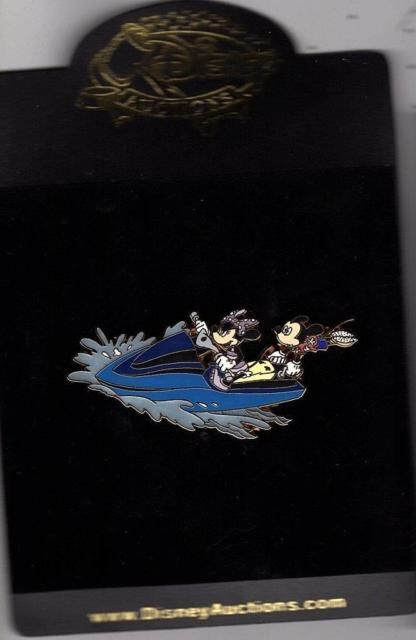 DISNEY AUCTIONS CHARACTERS AT THE BEACH MINNIE MICKEY JET SKI  PIN LE 100 NEW | eBay