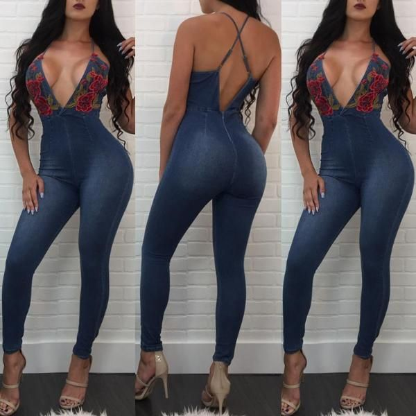 Low Cut Crisscross Strappy Embroidered Denim Jumpsuit
