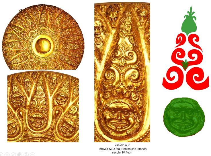 Vas din aur, movila Kul-Oba, Peninsula Crimeea, secolul IV î.e.n. Vasul este ornamentat cu o simbolistică bazată pe asocierea dintre Medusa-Marea Zeiţă şi reprezentarea Pomului Vieţii traco-getic (perechi de cârcei de viţă de vie ramificaţi alternativ).