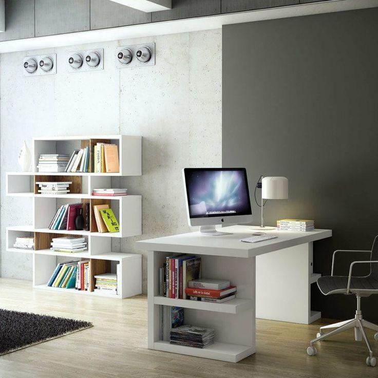 table bureau blanche moderne avec espace de rangement latéral