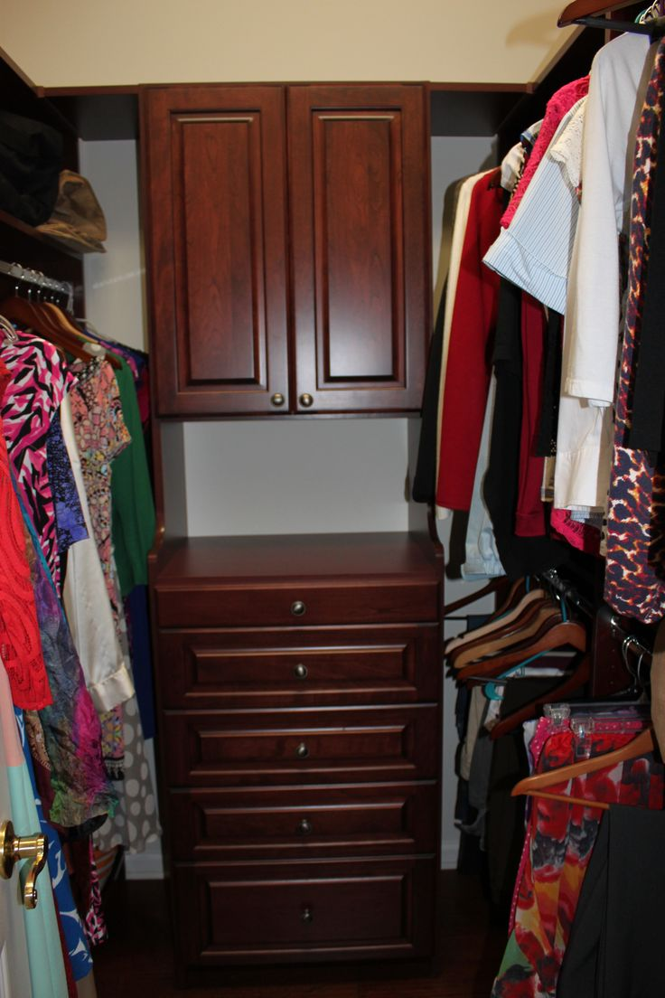 Charming Wild Cherry Closet With Cabinet And Drawers
