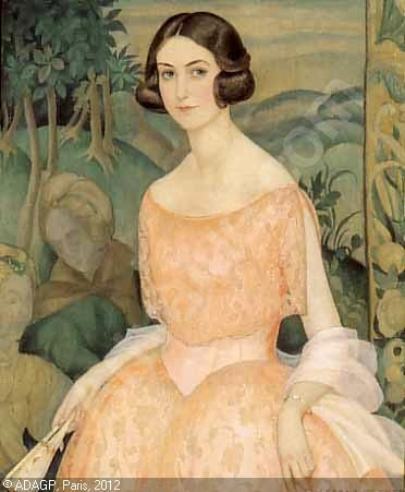 It is not a woman who served as the model for these paintings, but Gerda Wegener's husband, Einar Wegener.