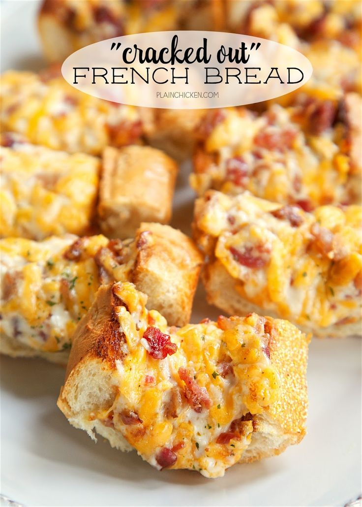 """""""Cracked Out"""" French Bread - crazy addictive! French bread topped with cheddar, bacon and ranch. We could not stop eating this! Serve as a party appetizer or as a side dish to your meal. Either way, this will be gone in a flash!!!"""
