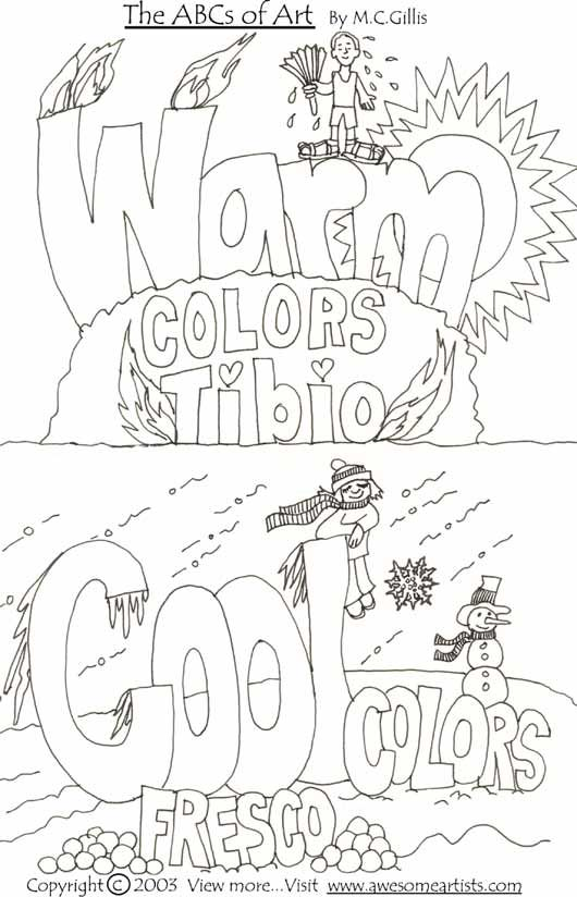 I am adamantly opposed to coloring sheets, but this might be okay to leave for a sub.  Students could use warm colors on the top and cool on the bottom to reinforce the difference between warm and cool. 2nd and 3rd grade.