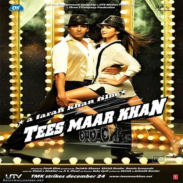 2010s-Tees Maar Khan: The movie starred Akshay Kumar and Katrina Kaif. The poster of the movie show the two in sexy dance pose, with Katrina Kaif wearing a long and loose shirt, with black shorts. The title of the movie is written below in a bold font.See more of: tees maar Khan, Katrina Kaif, Akshay Kumar