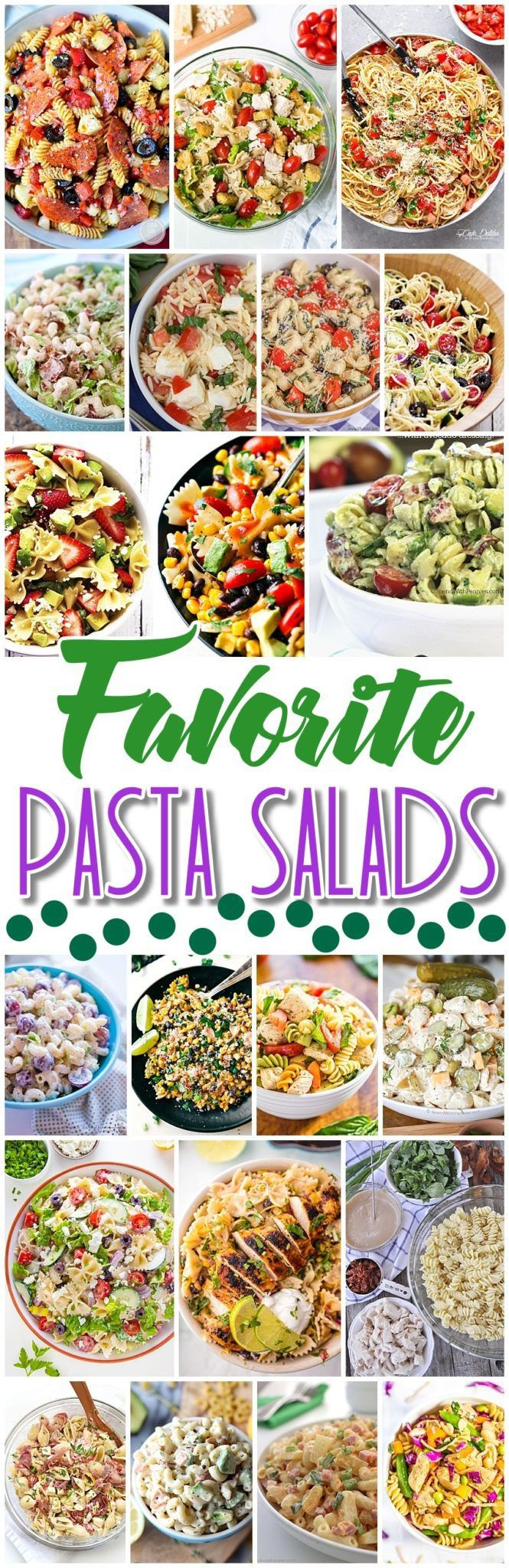 Easy Pasta Salad Recipes - The BEST Yummy Side Dishes for Barbecues, Potlucks and Summer Dinner Parties - Dreaming in DIY