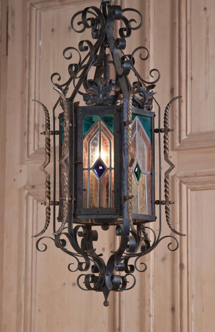 Antique Gothic Wrought Iron  Stained Glass Lantern image 2