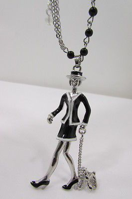 Silver Metal Chains Big Walking Dog Pendant 60'S Lady Necklace New Women Fashion Accessories