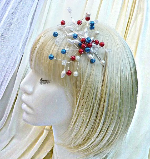Wedding hair tiara Tricolor by wandadesign on Etsy, €35.00