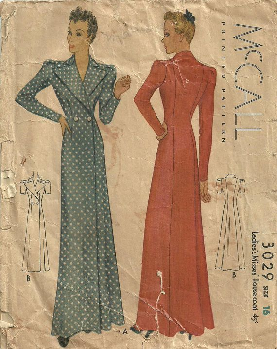 McCall 3029 Vintage 30s Sewing Pattern Robe by studioGpatterns. Inspiration for Catharine's robe
