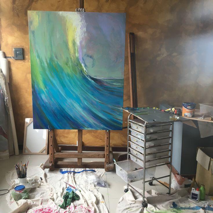 G-Land oil on canvas 100x120cm #ocean #surf #wave #oilcolor #art #painting #modernart
