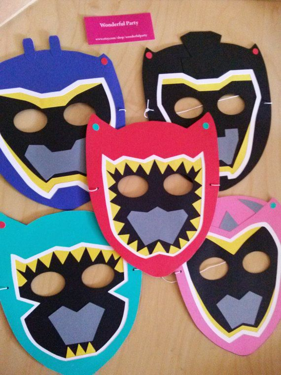 Masks favors inspired by power rangers  set of 5 by WonderfulParty