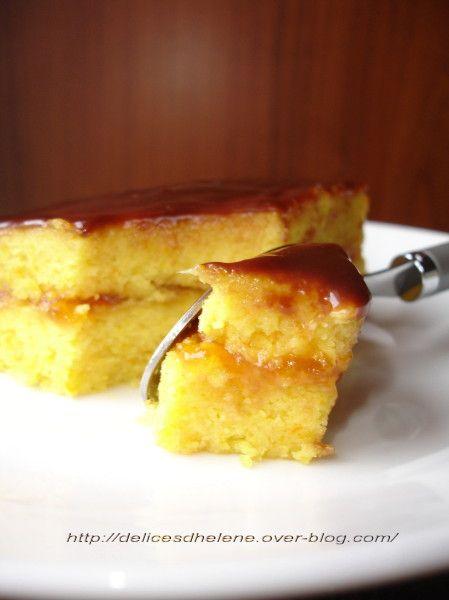 Au titre de la recette, j'en vois déjà certains qui vont fuir en se disant que ce gâteau n'a rien d'appétissant. Eh bien détrompez-vous! Il s'agit d'un gâteau fondant parfumé à l'orange (avec de l'orange entièrement mixée), et des plus bluffant grâce...