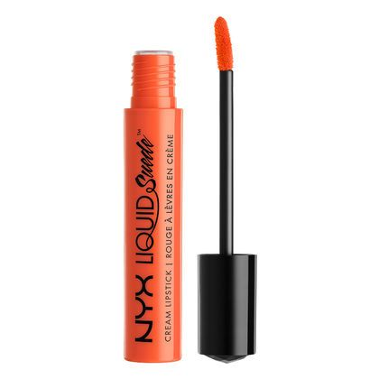 "Stand out with this ray of color! Our Liquid Suede Cream Lipstick in ""Foiled Again"" is a bright, peachy orange."
