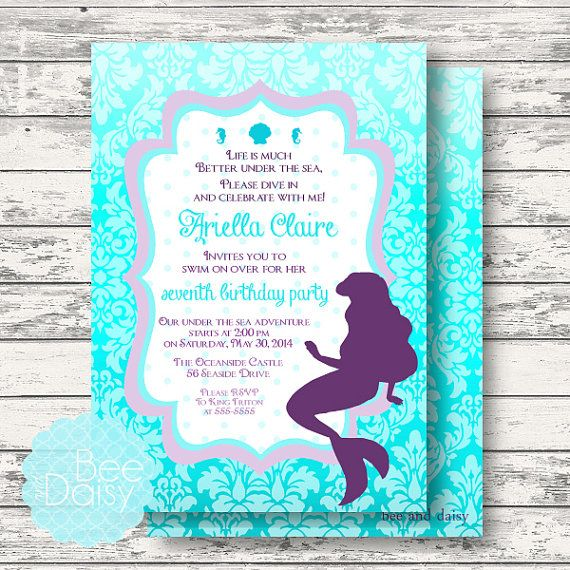 Little Mermaid Invitation for Birthday Party or by BeeAndDaisy
