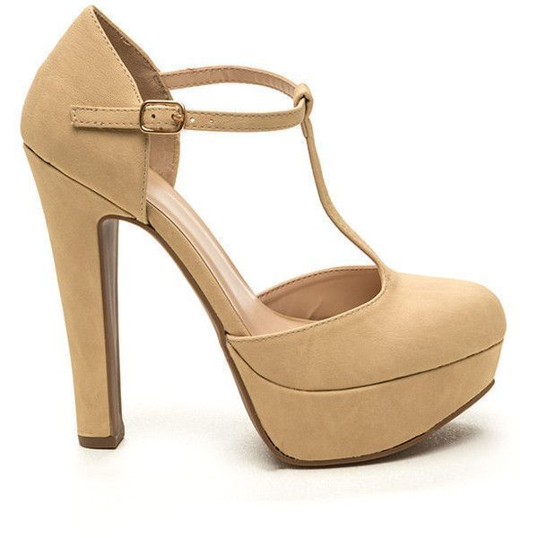 ed7c3c9d74e To A T-Strap Faux Suede Heels BEIGE ( 19) ❤ liked on Polyvore ...