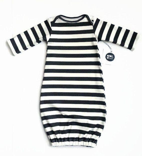 Black Stripe Baby Sleeper Gown Monochrome Newborn by RebelandHeart