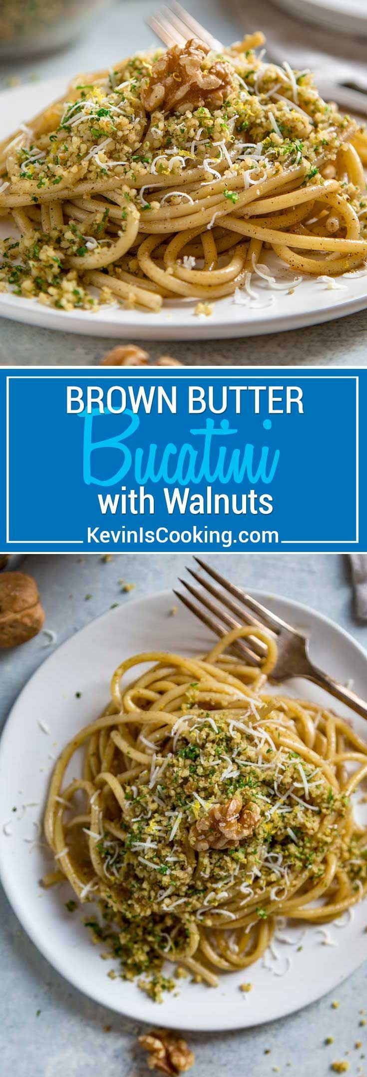 An easy to make dish in minutes, this Brown Butter Bucatini with Walnuts has the nutty flavor of browned butter coating the pasta and is topped with a ground walnut, parsley and lemon zest crumble. #pasta #dinner