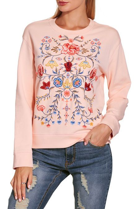 0dc5f266ba143 Embroidered Floral Sweatshirt | Boston Proper Crew Neck, Cotton, Boston  Proper, Sweatshirts,