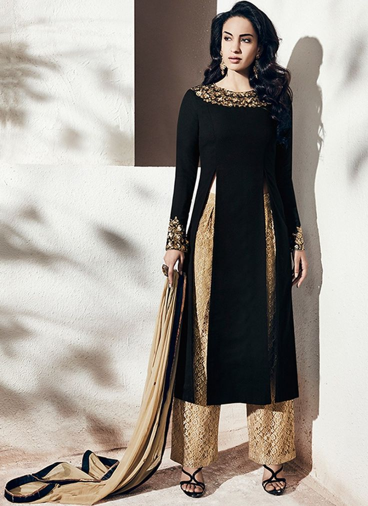 Black and Beige Embroidered A Line Palazzo Suit