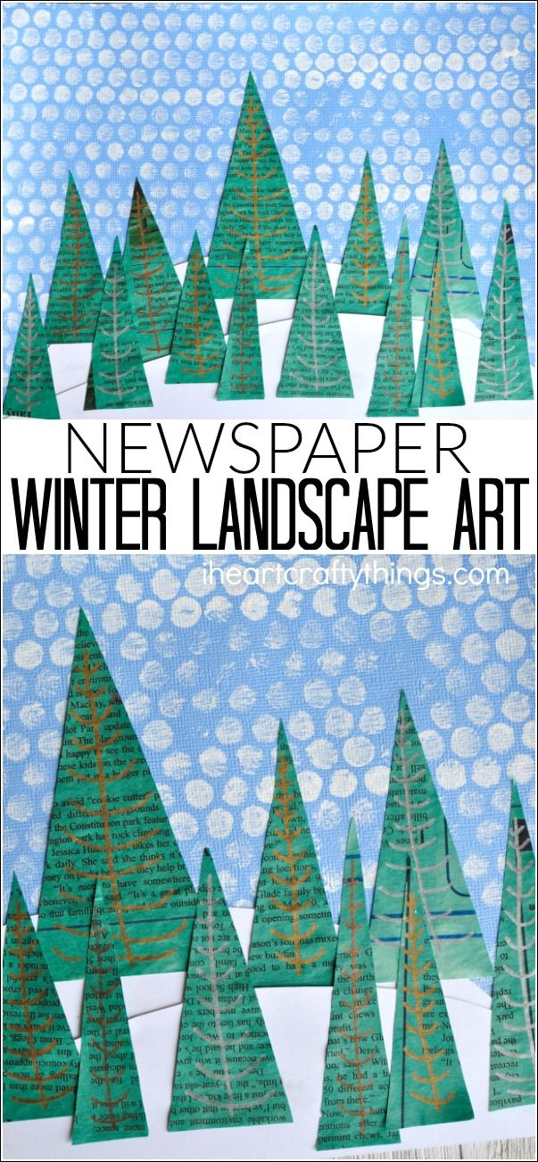 This newspaper winter landscape art project makes a great winter craft, winter art project, kids winter craft and preschool craft. #wintercrafts #winteractivitiesforkids #winteractivity #recycledart #mixedmediaart #craftsforkids #kidscraftideas #kidcrafts