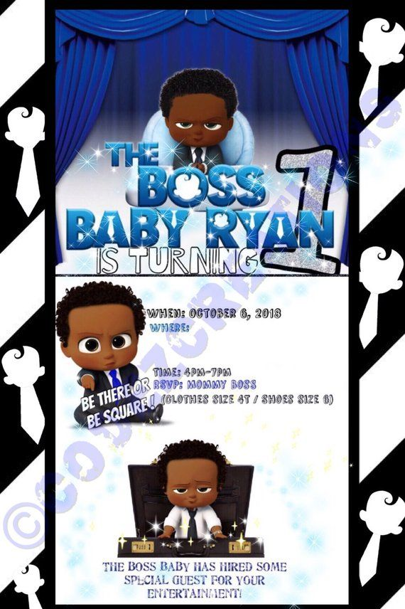 African American Boss Baby Invitations Baby Invitations