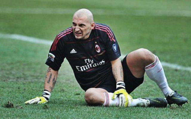 """""""Abbiati"""" pietà del Milan... Anche l'estremo difensore si è infortunato! #abbiati #polpaccio #amelia #pali #milan"""