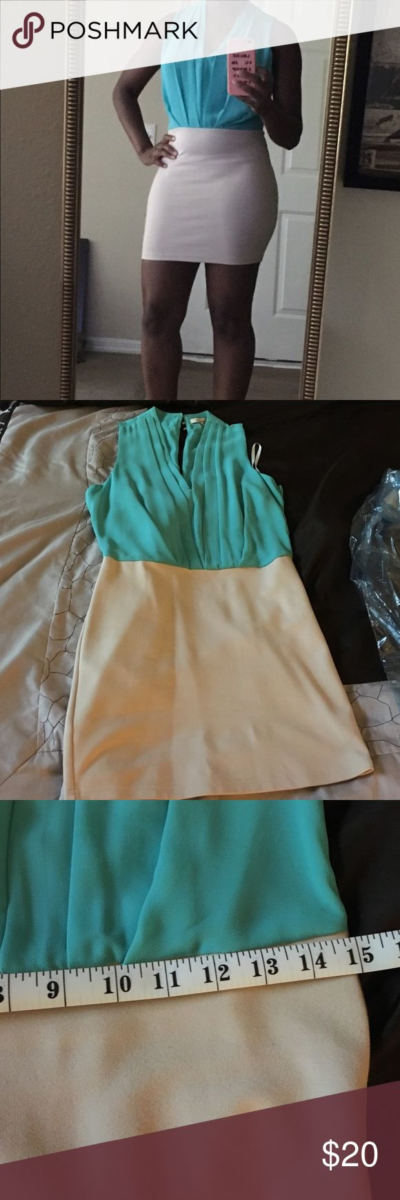 Sea green/cream cocktail dress Worn once. Skirt part is about the same length as the measurement pictured. Dresses Mini