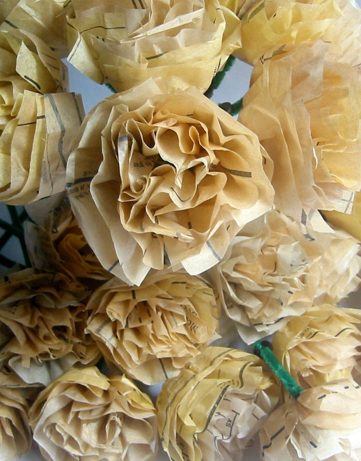 WHOLESALE- Tissue Paper Flowers- Repurposed Vintage Sewing Patterns- 24 Flowers- Popular Wedding Decoration. $30.00, via Etsy.
